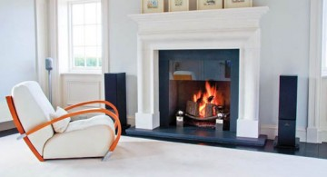 simple and modern white fireplace design