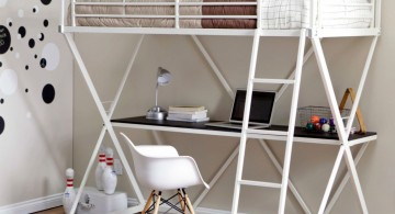 simple and unisex loft bed with desk white