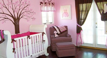 simple and warm brown and pink baby room ideas