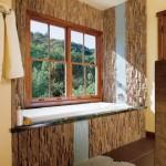 simple bamboo themed bathroom