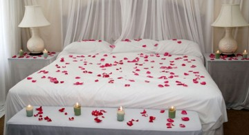 simple bedroom decoration for valentines day with rose petals