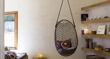 simple bedroom swing chair in black