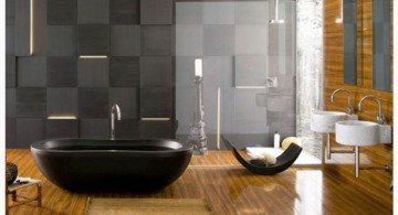 simple black bathrooms ideas with wooden floor