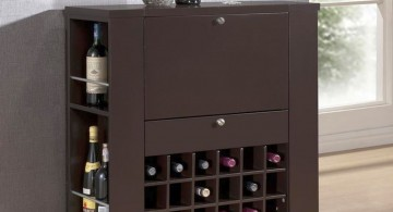 simple dark wood contemporary wine cabinet