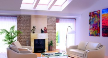 simple living room with skylight ideas