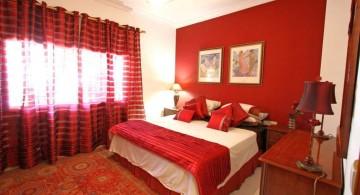 simple minimalist red and black bedroom