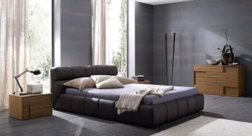 simple modern mens bedroom in grey