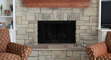 simple mounted stack stone fireplaces