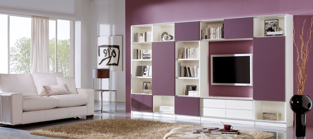 modern living room wall shelf ideas mounted on white painted wall