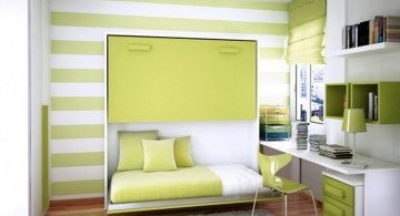 simple murphy bed design ideas for small rooms in green and white