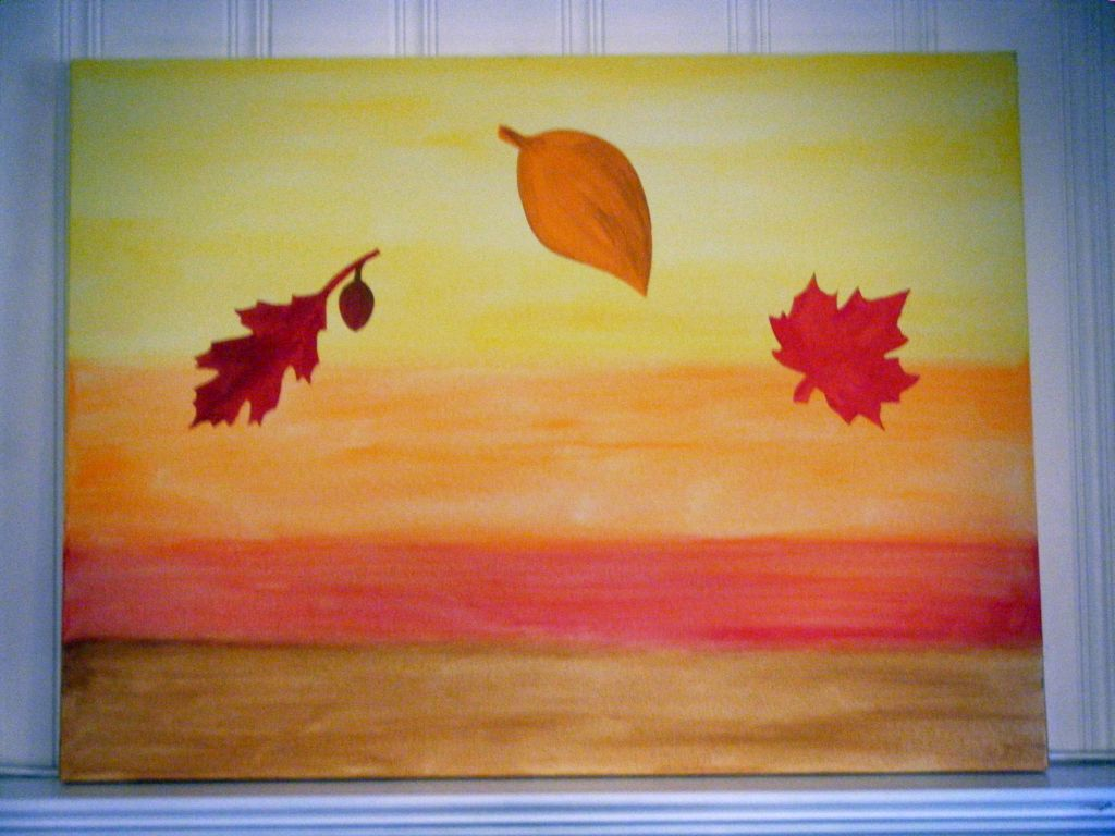 Simple painting ideas canvas autumn themed for Fall paintings easy