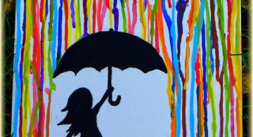 simple painting ideas canvas girl under the rain