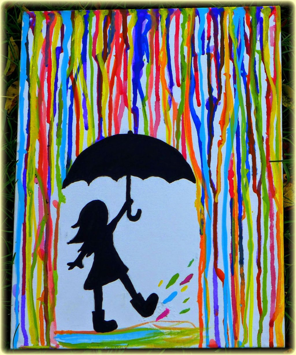 Simple painting ideas canvas girl under the rain for Simple easy paintings