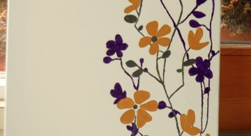 simple painting ideas canvas yellow and purple flowers