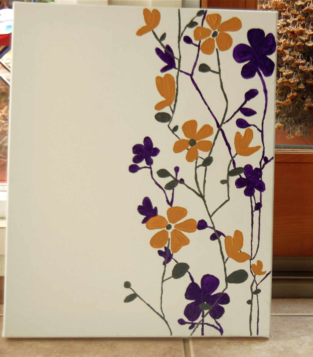 Simple painting ideas canvas yellow and purple flowers for Purple and yellow painting