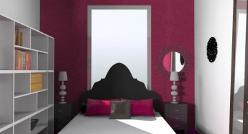 simple pink and black bedroom decor for limited space