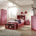 simple pink red and white for cute girls bedroom ideas