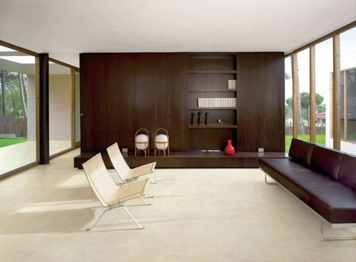 simple polished white marble tile flooring ideas for living room