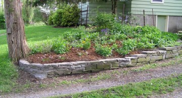 simple raised stones for flower beds