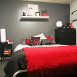 simple red black and white bedroom ideas