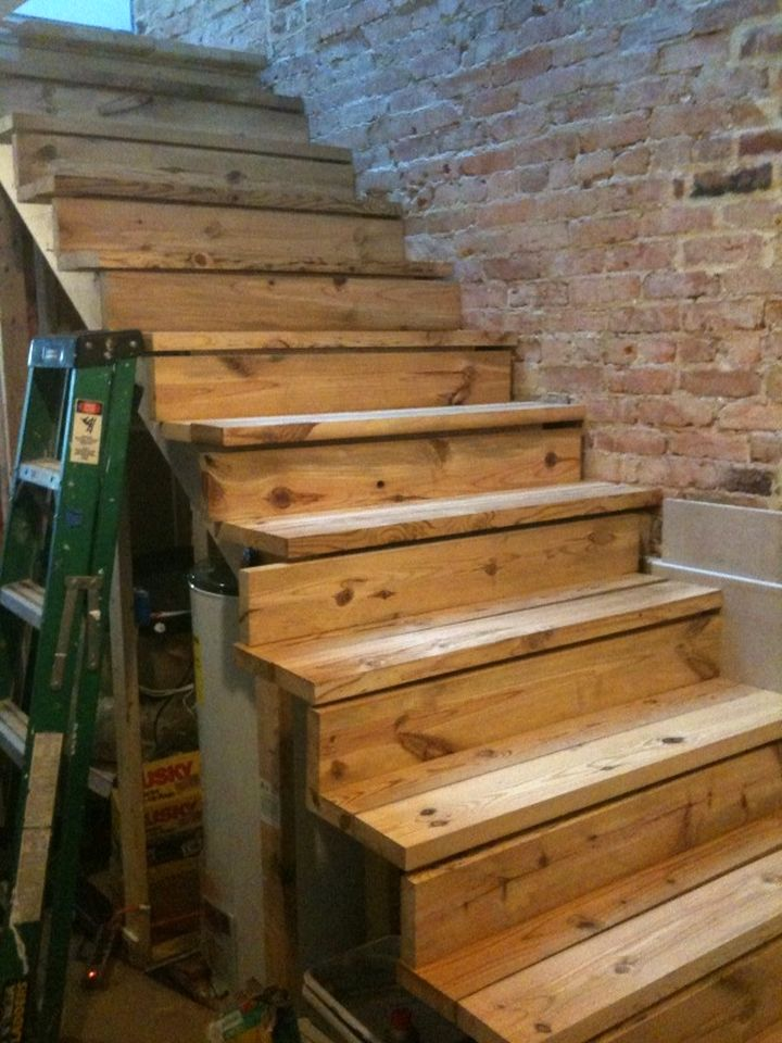 simple rustic wooden stairs