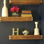 simple three tiered floating shelf decorating ideas