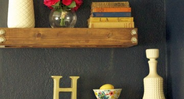 simple three tiered floating shelf decorating ideas