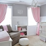 simple two toned grey and pink baby room ideas