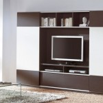 simple two toned wall shelving units for living room
