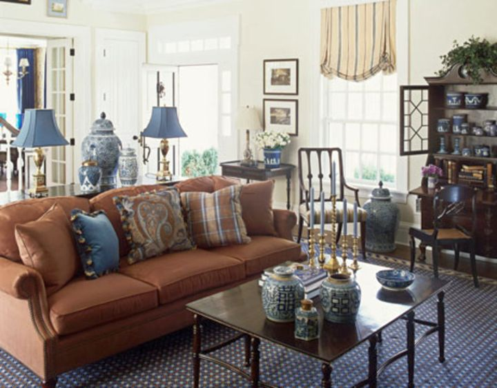 simple vintage blue and brown living room