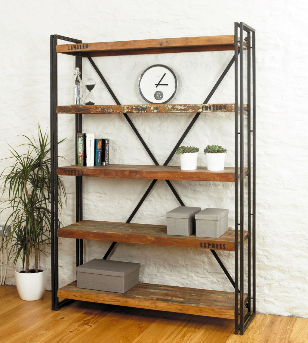 Simple vintage industrial bookcase designs for Diy industrial bookshelf
