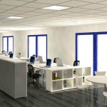 simple white and blue lined windows small office plans