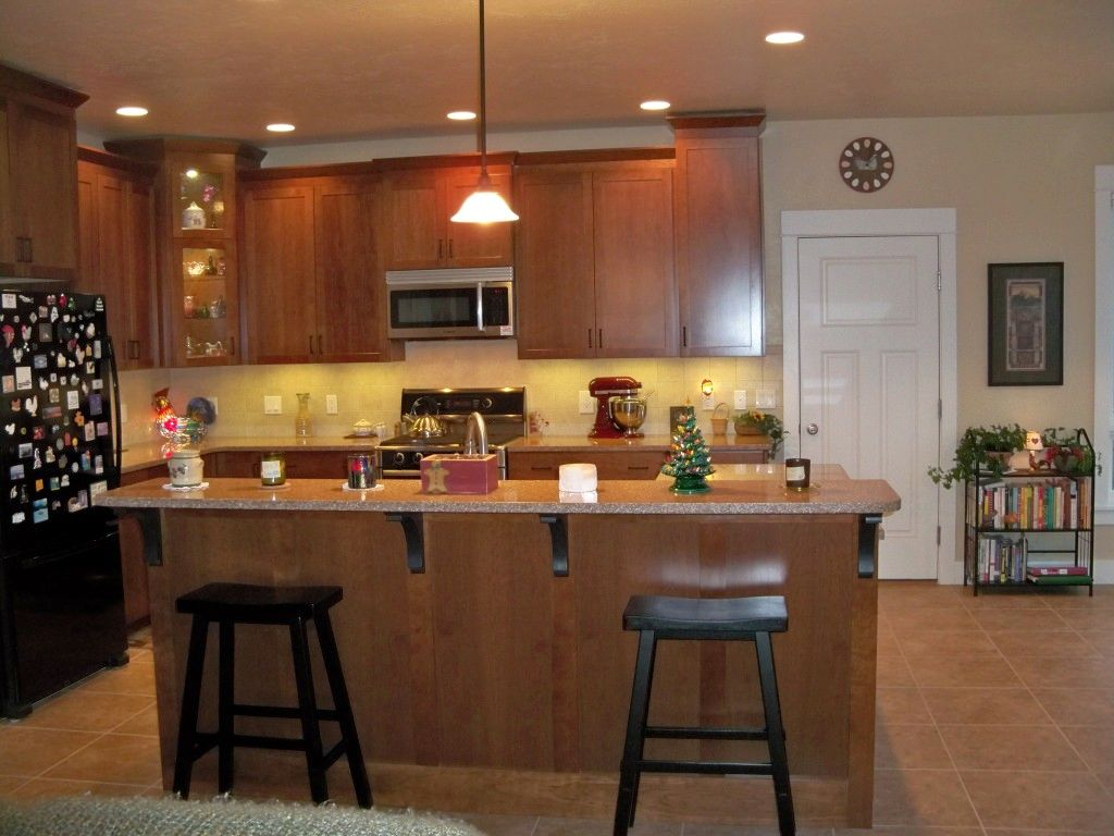 Single Mini Pendant Lights Over Kitchen Island - Pendants above island