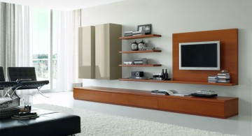 sleek and built in wall shelving units for living room