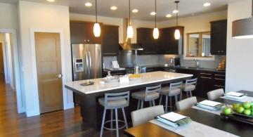 sleek and modern mini pendant lights over kitchen island