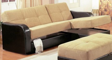 sleek black and beige small sofa beds for small rooms