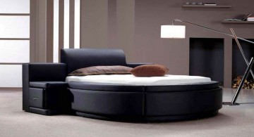 sleek black circular bed