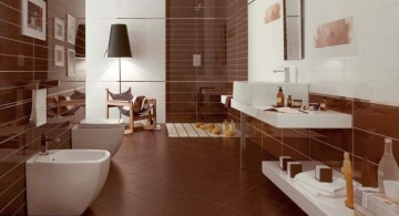 sleek brown bathroom ideas with floating sink