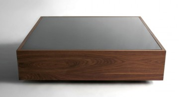 sleek glassed wood coffee table designs