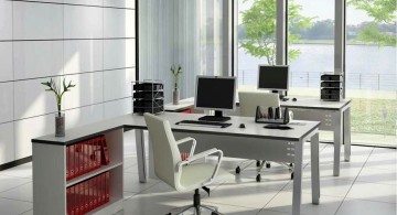 sleek office desk attached to one