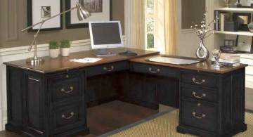 sleek office desk in black