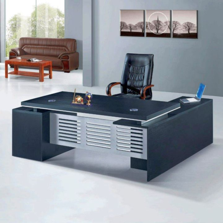 sleek office desk in blue