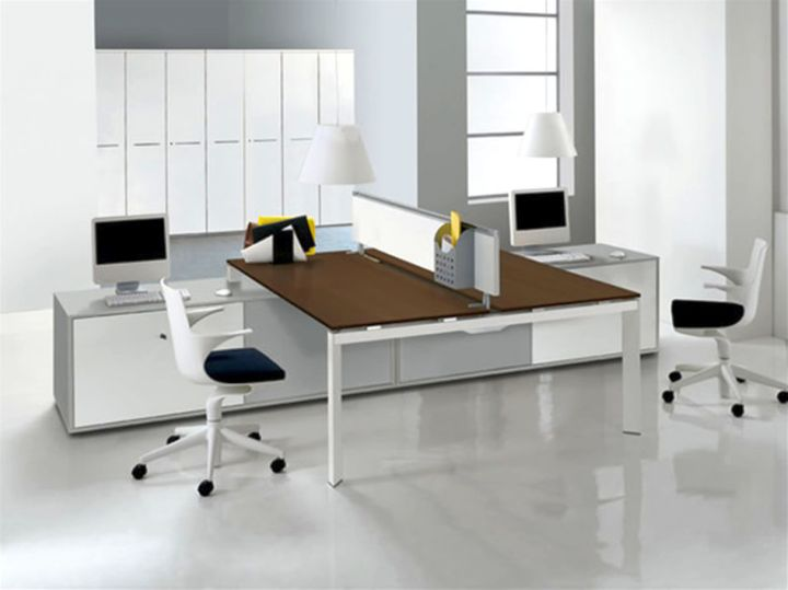 sleek office desk in brown and white