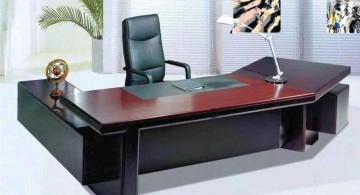 sleek office desk in dark woods