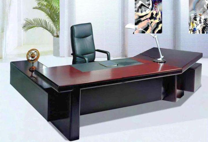 sleek office desk in dark woods