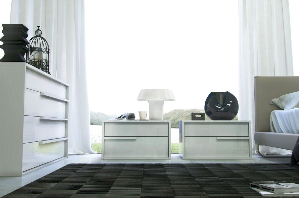 sleek twins modern nightstands white