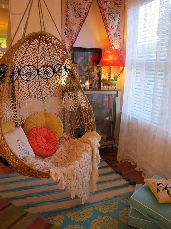 Small Bedroom Swing Chair With Blanket And Cushions