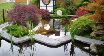 small japanese garden design ideas with a pond and garden lantern