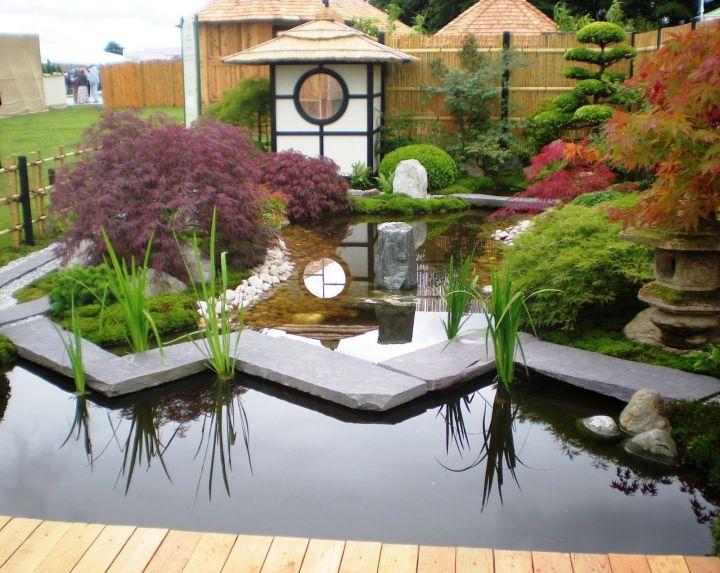 small japanese garden design ideas with a pond and garden lantern