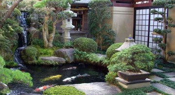 small japanese garden design ideas with small fish pond
